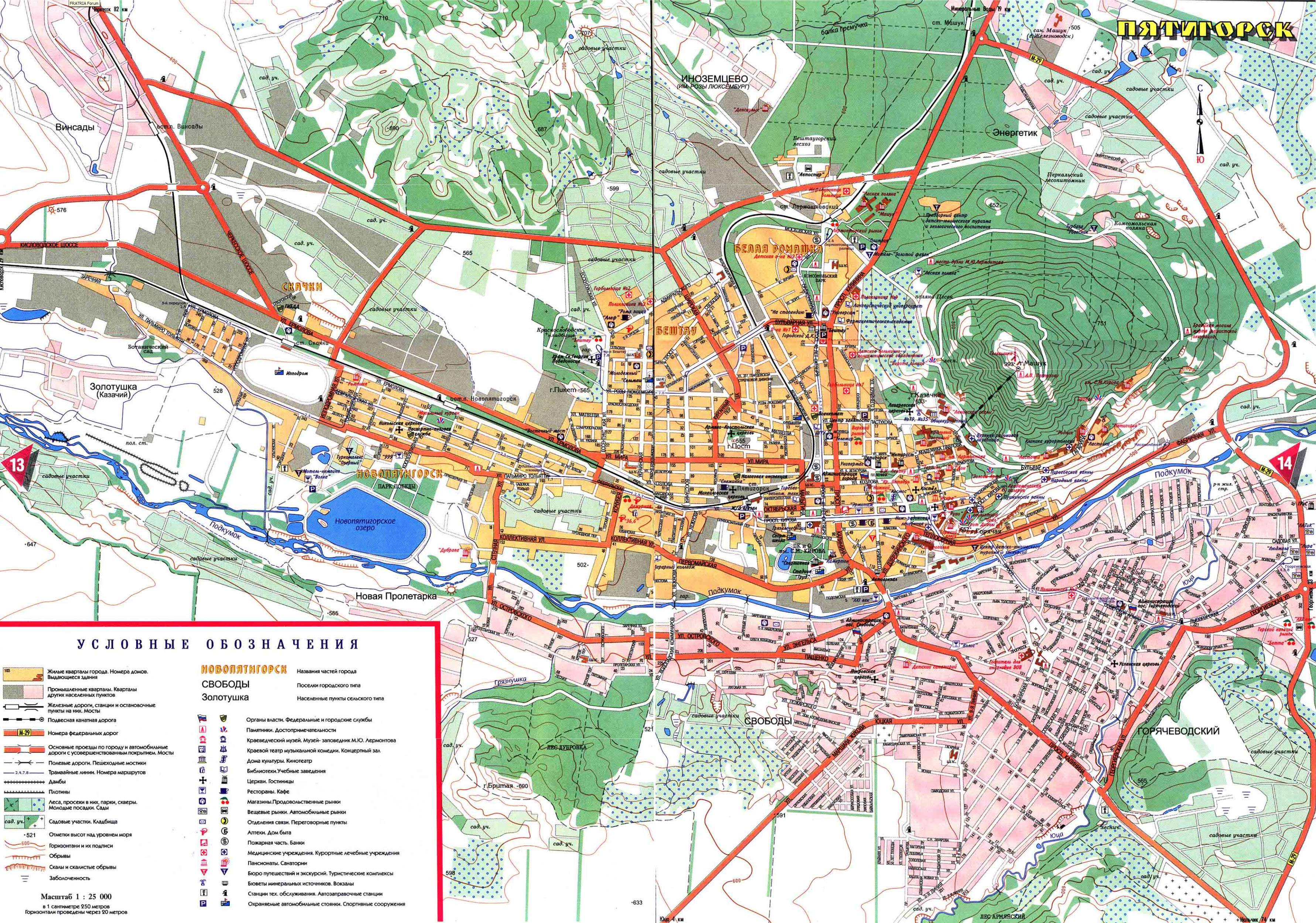 Карта Пятигорска с обозначением завода.